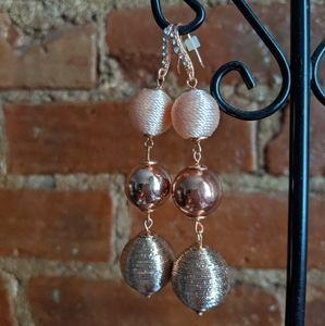 Macy's Rose Gold & Pink Thread Ball Drop Earrings